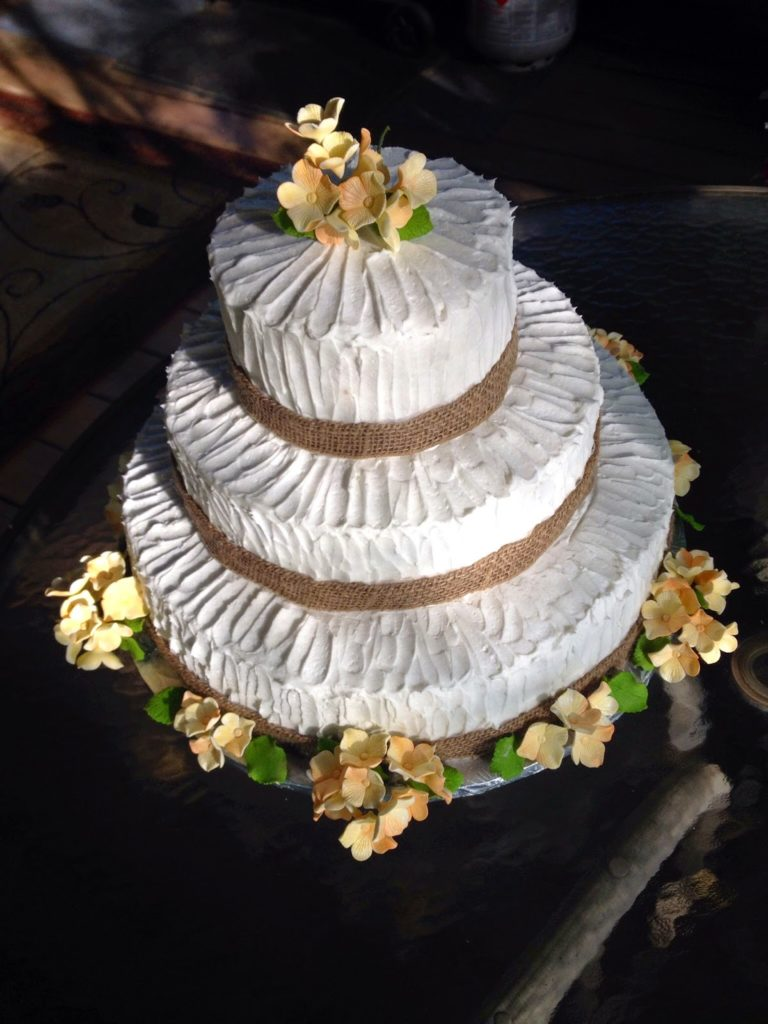 Rustic Wedding Cake With Teatime Delicacies Catering