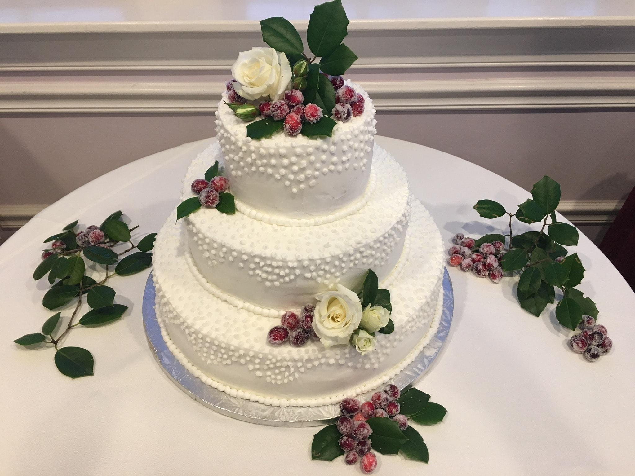 Winter Wonderland Wedding Cake with Sugared Cranberries